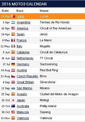 schedule moto3 2016